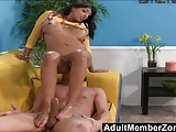 AdultMemberZone - Footjob on the Yellow couch