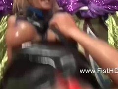 Busty blonde Klarisa Leone riding a fist hard